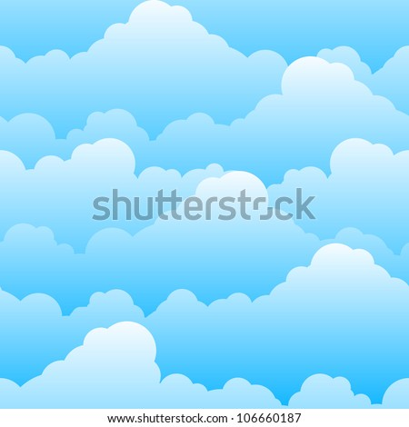 Raster version. Seamless texture of beautiful clouds. Illustration for design