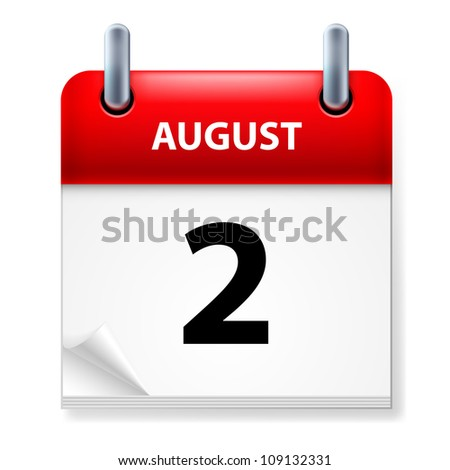 Raster version. Second in August Calendar icon on white background