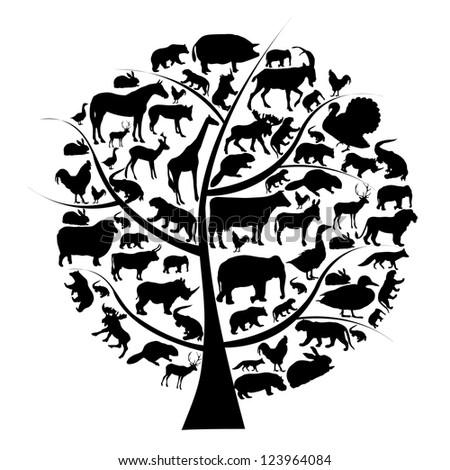 Raster version set of animals silhouette on tree.