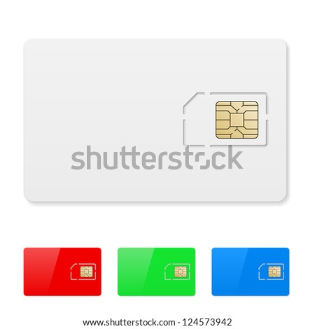 Raster version. Set of Blank SIM card. Illustration on white
