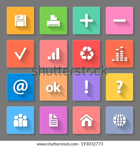 Raster version. Set of colorful square flat icons with long shadows for web design and apps