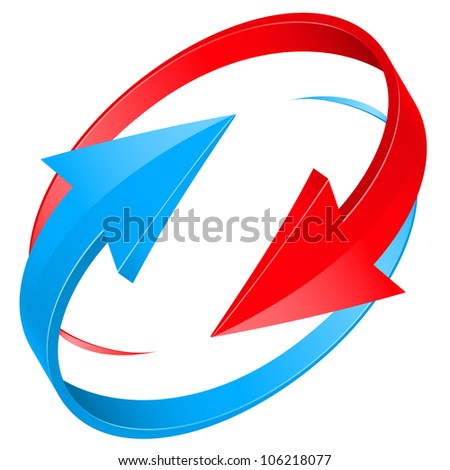 Raster version. Set of glossy red and blue arrow icons for web design. Illustration on white background