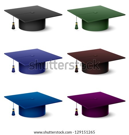 Raster version. Set of of colorful hats graduate. Illustration on white background