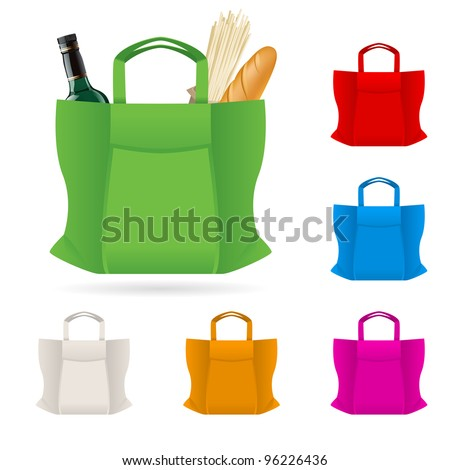 Raster version. Set of Shopping Bag With Foods Illustration on white