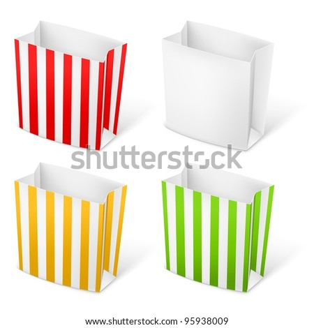 Raster version. Set of Stripped color Paper Bags. Illustration on white background