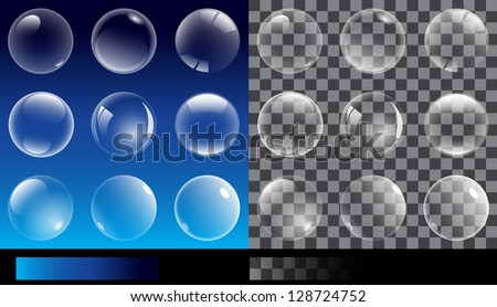Raster version. Set of transparent bubbles. Illustration without text