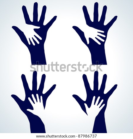 Raster version. Set of Two hands silhouette. Illustration on white background.