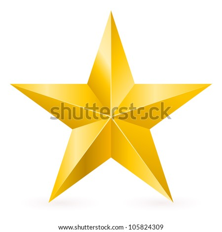 Raster version. Shiny Gold Star. Form of first. Illustration for design on white background