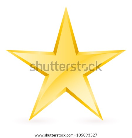 Raster version. Shiny Gold Star. Form of the seventh. Illustration for design on white background