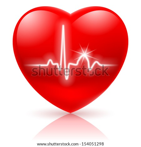 Raster version. Shiny red heart with cardiogram isolated on white.