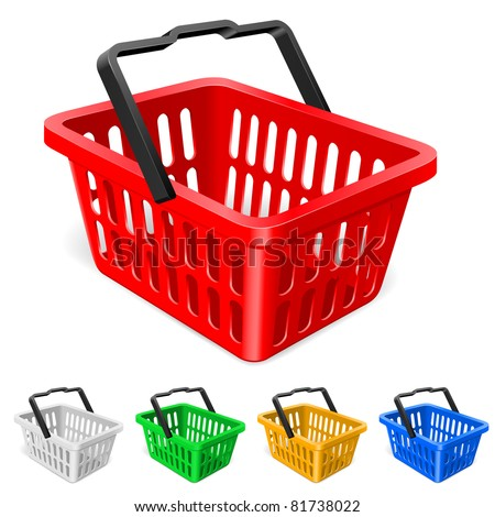 Raster version. Shopping basket. Illustration on white background