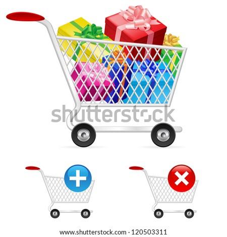 Raster version. Shopping cart full of shopping gift boxes. Illustration on white