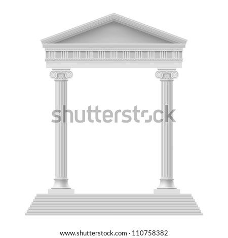 Raster version. Simple Portico an ancient temple. Colonnade. Illustration on white