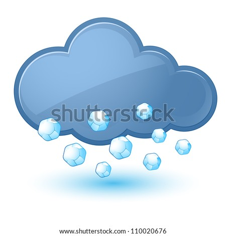 Raster version. Single weather icon - Cloud with Hail. Illustration on white