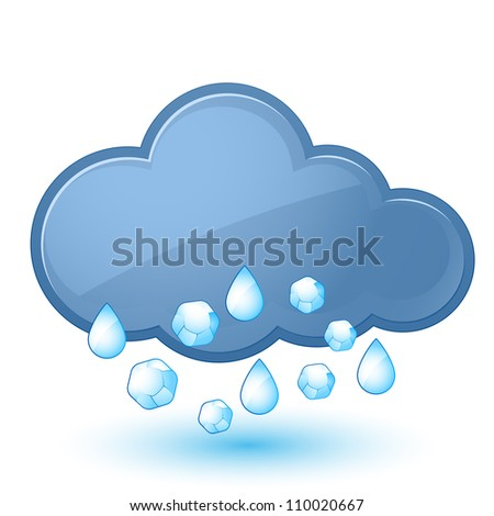 Raster version. Single weather icon - Cloud with Rain and Hail