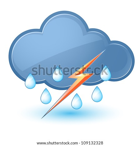 Raster version. Single weather icon - Cloud with Rain and Lightning