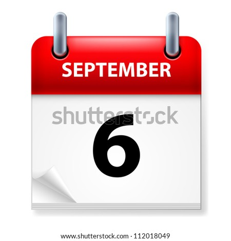 Raster version. Sixth September in Calendar icon on white background
