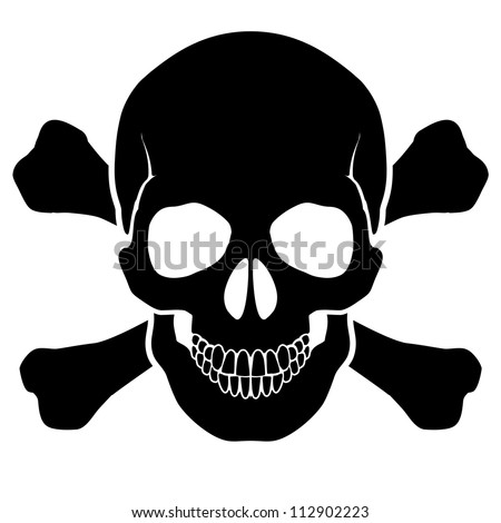 Raster version. Skull and bones - a mark of the danger  warning