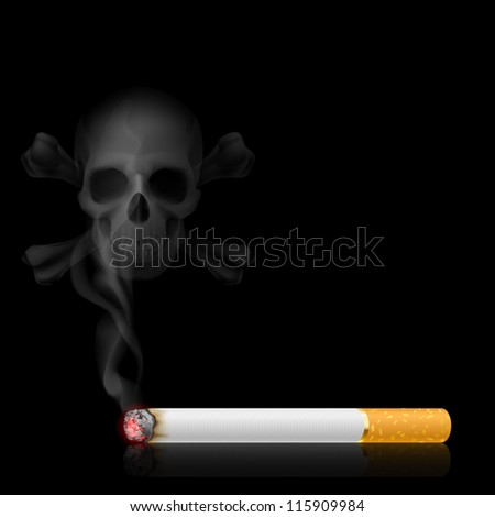 Raster version. Skull shaped smoke comes out from cigarette on black