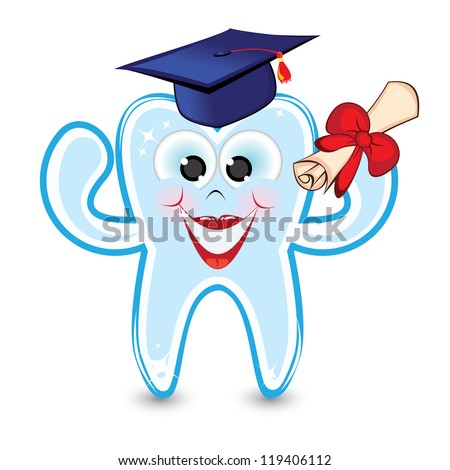 Raster version. Smiley tooth wearing a graduation cap and holding a diploma.
