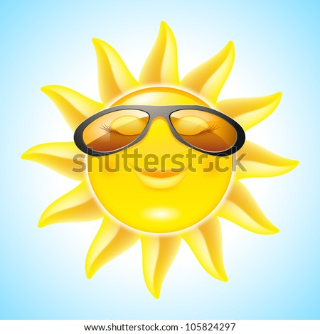 Raster version. Smiling Sun with Sunglasses. Cool Cartoon Character for design