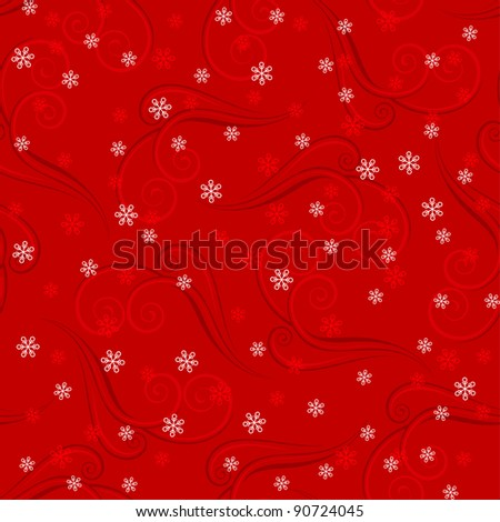 Raster version. Snowflakes on red background. Winter seamless pattern for design