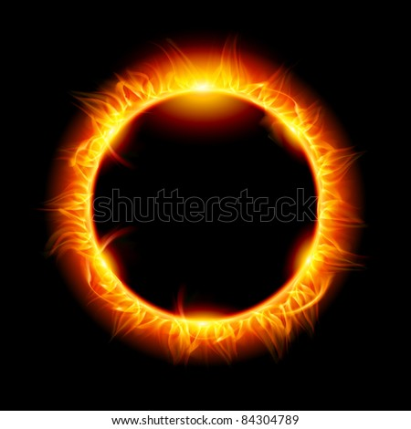 Raster version. Solar eclipse. Illustration on black background for design - stock photo