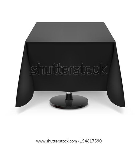 Raster version. Square dining table with black tablecloth and round leg isolated on white background.