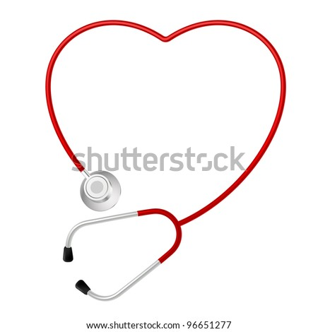 Raster version. Stethoscope Heart Symbol. Illustration on white background