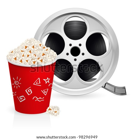 Raster version. The film reel and popcorn. Illustration on white background