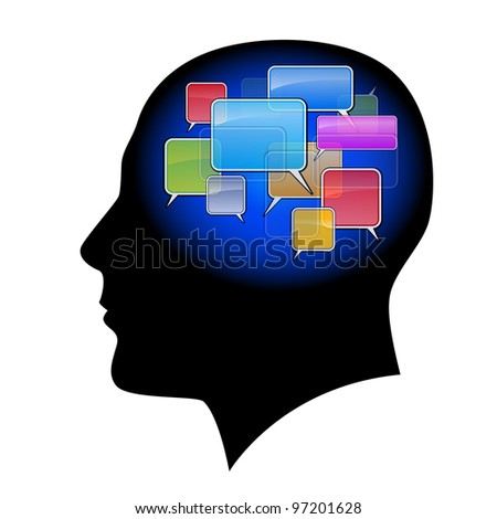 Raster version. The man in the head with sms. Illustration on white background