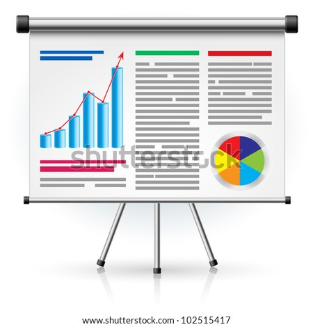 Raster version. The screen with the business schedule. Illustration on white background