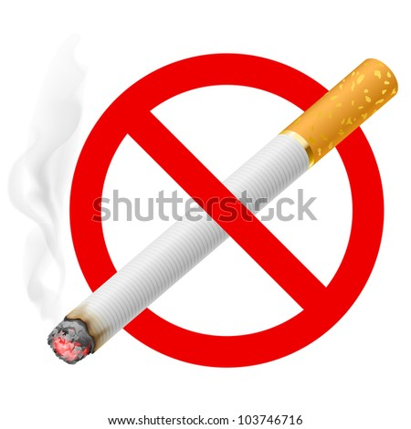 Raster version. The sign no smoking. Illustration on white background