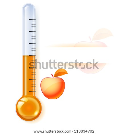 Raster version. Thermometer by seasons. Autumn. Illustration on white