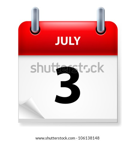 Raster version. Third July in Calendar icon on white background - stock photo