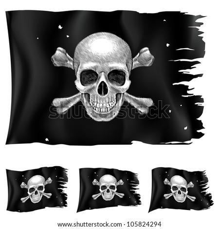 Raster version. Three types of pirate flag. Illustration for design on white background