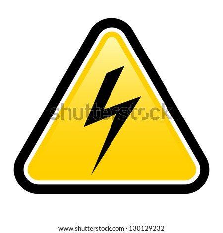 Raster version. Triangle sign with high voltage symbol isolated on white