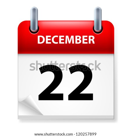 Raster version. Twenty-second in December Calendar icon on white background