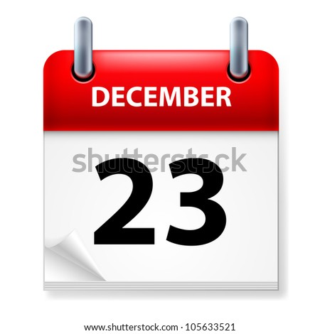 Raster version. Twenty-third in December Calendar icon on white background