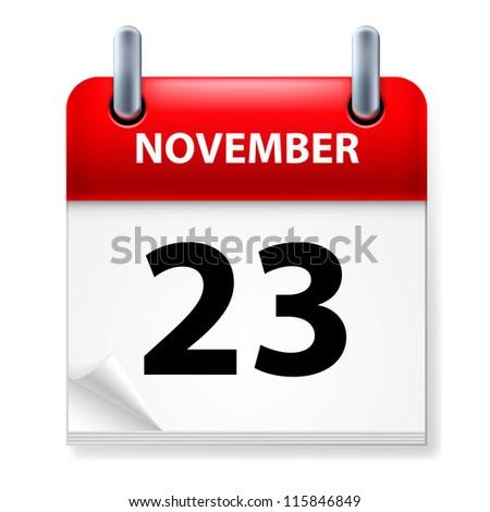 Raster version. Twenty-third in November Calendar icon on white background