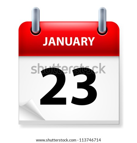 Raster version. Twenty-third January in Calendar icon on white background