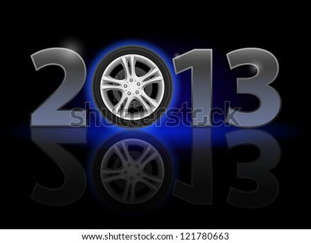 Raster version. Twenty Thirteen Year. Car wheel. Illustration on black background