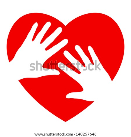 Raster version. Two hands and heart. Illustration on white background