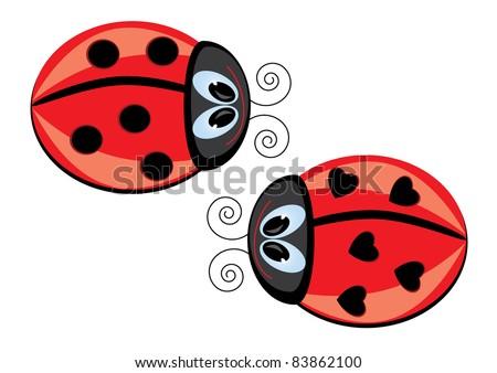 Raster version. Two Ladybugs.  illustration on white background