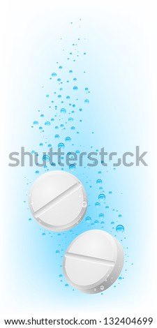Raster version. Two pills in water. Illustration on white  for creative design
