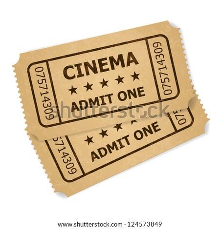 Raster version. Two retro cinema tickets. Illustration of designer on a white background