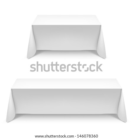 Raster version. Two white rectangular with table tablecloth. Illustration on white