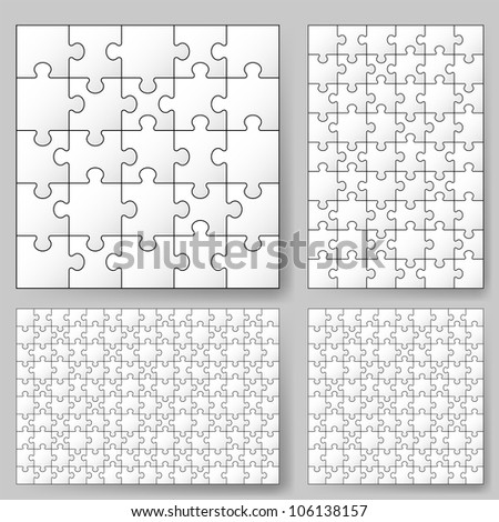 Raster version. Various sizes puzzle. Illustration for design