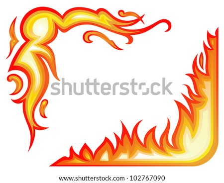 Raster Version Vector Set Fire Flames Collage Stock Photo