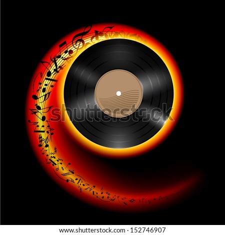 Raster version. Vinyl disc with music notes flying out in spiral of flame color. Effect of rolling record. Illustration on black background.